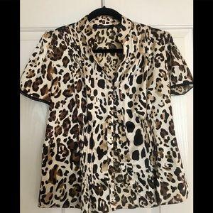 Silky Leopard Short Sleeve Button Down Blouse (PL)
